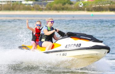 Mother Daughter Duo having Fun Jet Skiing on the Gold Coast