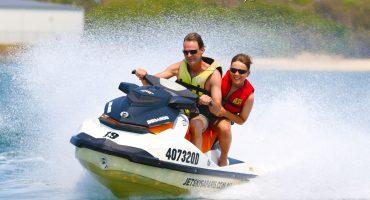 father and son on jet ski tour on the Gold Coast