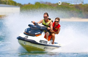 father and son on jet ski tour on the Gold Coast